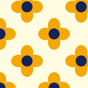 Retro Summerflower Orange Offwhite Small