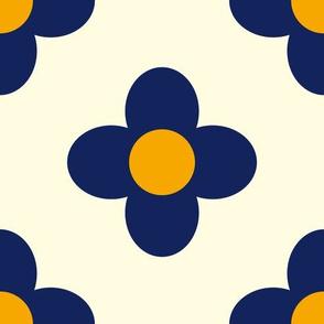 Retro Summerflower Blue Offwhite Orange Medium