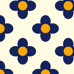 Retro Summerflower Blue Offwhite Orange Small