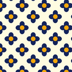 Retro Summerflower Blue Offwhite Orange XSmall