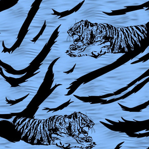 Tribal Tiger stripes print - ocean blue large
