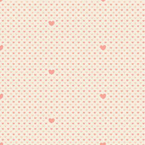 Pink Hearts on Ivory