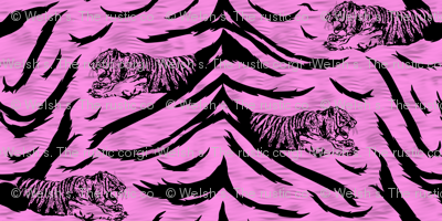 Tribal Tiger stripes print - bubblegum pink small