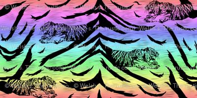 Tribal Tiger stripes print - neon rainbow large
