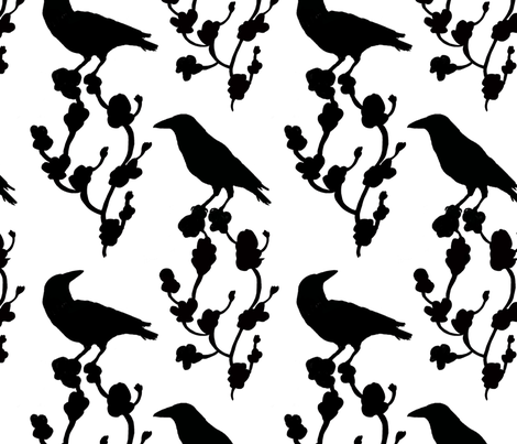Crows fabric by nadinewestcott on Spoonflower - custom fabric