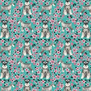 schnauzer (small) dog fabric cherry blossom spring fabric - cute dog design - turquoise