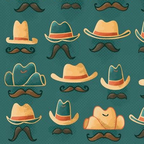 Hats + 'Staches // (Larger Scale) Hand Drawn Wild West Cowboy & Cowgirl Disguises Sheriff Outlaw