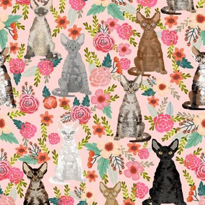 devon rex cat breed fabric florals cute pet breed pink