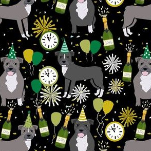 pitbulls new years eve celebrations happy new years fabric dog breed black green