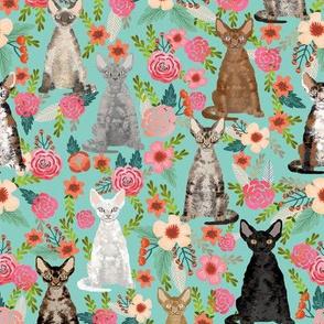 devon rex cat breed fabric florals cute pet breed mint