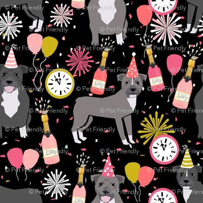 pitbulls new years eve celebrations happy new years fabric dog breed black pink