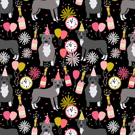 pitbulls new years eve celebrations happy new years fabric dog breed black pink fabric by petfriendly on Spoonflower - custom fabric