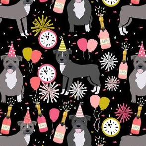 pitbulls new years eve celebrations happy new years fabric dog breed black pink