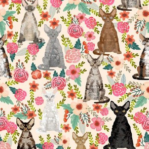 devon rex cat breed fabric florals cute pet breed cream