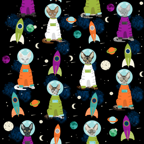 Devon rex cat breed fabric space ship outer space for Space kitty fabric
