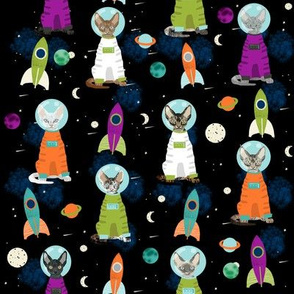 devon rex cat breed fabric space ship outer space catstronauts green purple