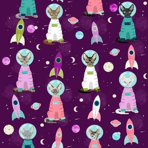 devon rex cat breed fabric space ship outer space catstronauts purple