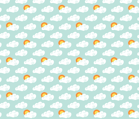 Clouds and Sun on Blue fabric by northern_whimsy on Spoonflower - custom fabric