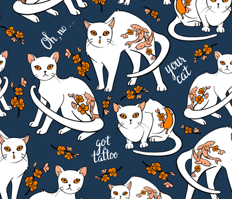 Oh no... your cat got a tattoo! (blue) fabric by elena_naylor on Spoonflower - custom fabric