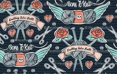 Born To Knit Tattoo - Dark Blue Retro
