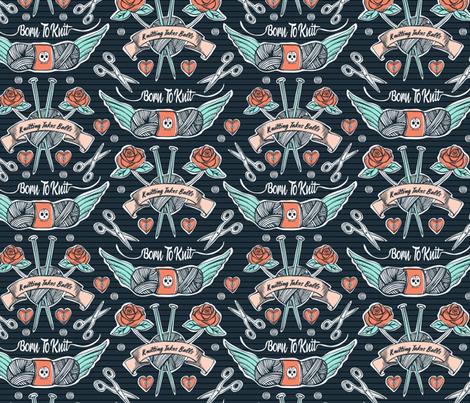 Born To Knit Tattoo - Dark Blue Retro fabric by heatherdutton on Spoonflower - custom fabric