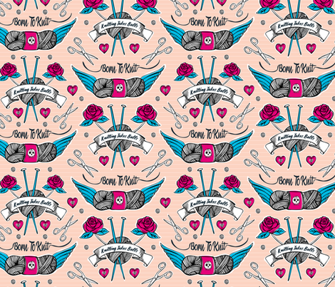 Born To Knit Tattoo - Pink fabric by heatherdutton on Spoonflower - custom fabric