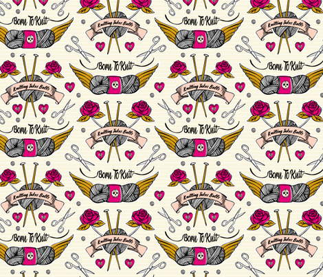 Born To Knit Tattoo - Cream & Pink fabric by heatherdutton on Spoonflower - custom fabric