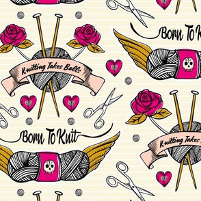 Born To Knit Tattoo - Cream & Pink