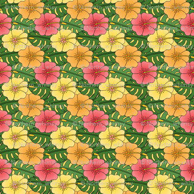 Large Hibiscus and Monstera Pattern