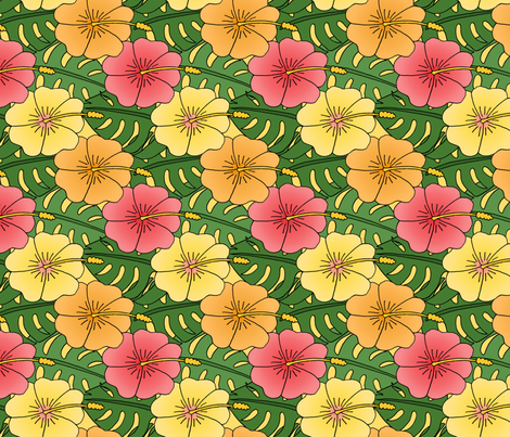 Large Hibiscus and Monstera Pattern fabric by northern_whimsy on Spoonflower - custom fabric