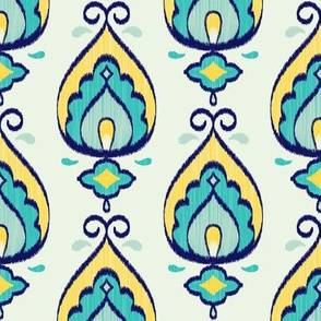 Teardrop Ikat (Teal - Vertical) // Hand Drawn Moroccan - inspired Middle Eastern Lantern Tile & Textile Art