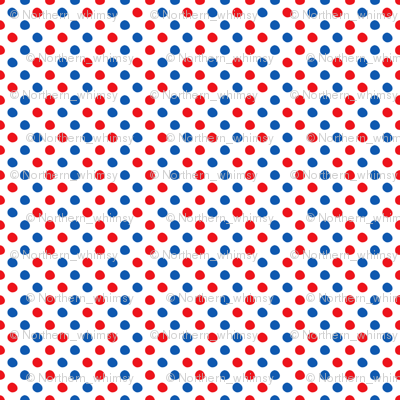 Red and Blue Polka Dots on White
