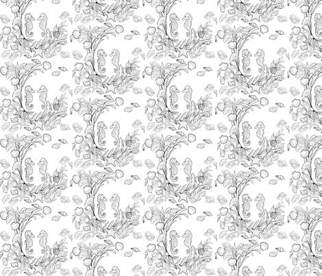 seahorse tattoo fabric by helenharveydesigns on Spoonflower - custom fabric