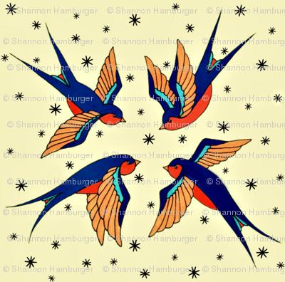 Playful Retro Swallows