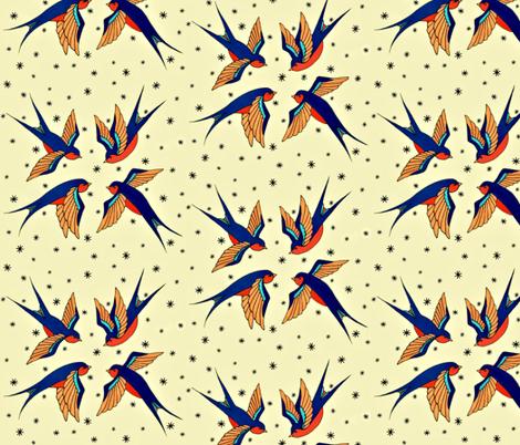 Playful Retro Swallows fabric by shannjh on Spoonflower - custom fabric
