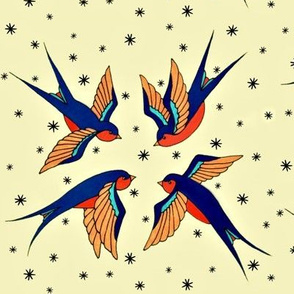 Playful Retro Swallows