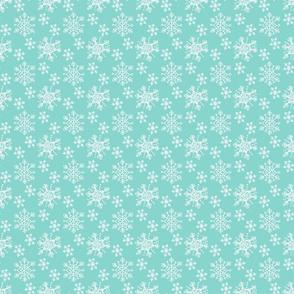 Winter Snowflake Pattern on Blue