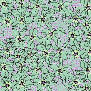 flower dots/jade