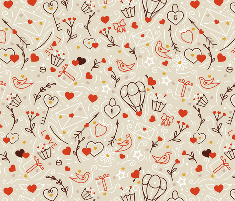 Valentines lineart fabric by elena_naylor on Spoonflower - custom fabric