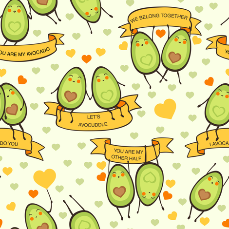 Let's avocuddle fabric by elena_naylor on Spoonflower - custom fabric