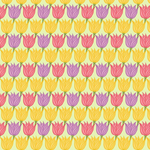 Spring Floral - Pink Purple and Yellow Tulips