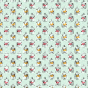 Birds in Cages on Blue