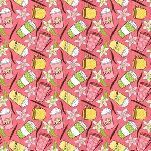 Vanilla Coffee - Coffee Cups on Pink