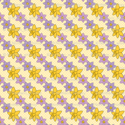 Spring Floral Pattern - Crocus and Daffodils