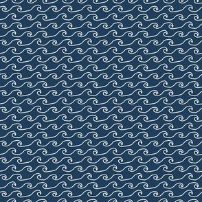Hand Drawn Wave Pattern in Navy