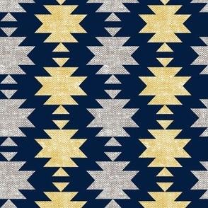 modern aztec || woven mustard on navy