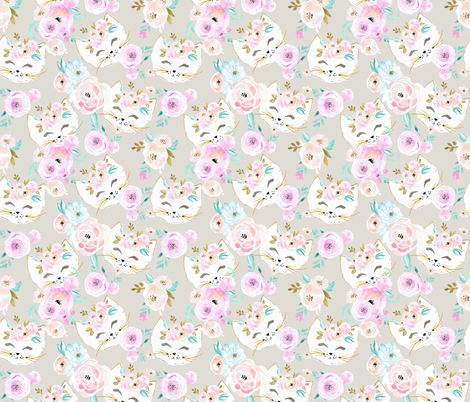 Flower Kitty fabric by crystal_walen on Spoonflower - custom fabric