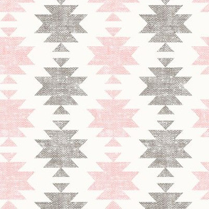 modern aztec || woven neutrals - pink on off white