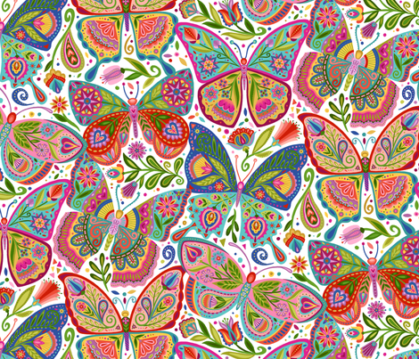 The Girl with the Butterfly Tattoos fabric by groovity on Spoonflower - custom fabric