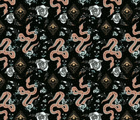 Dark Snake and Roses Tattoo Universe fabric by mabouk on Spoonflower - custom fabric